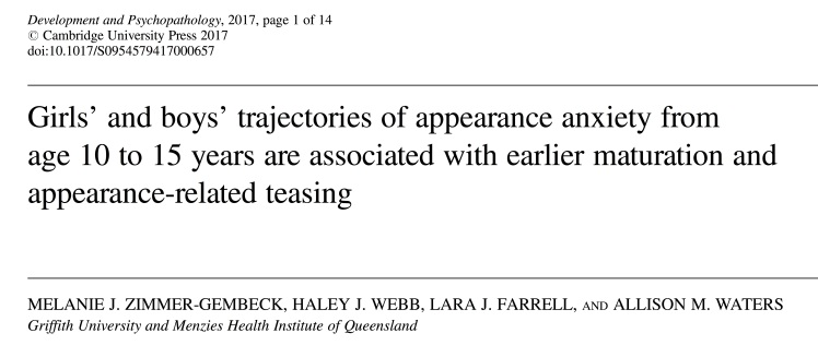girls_and_boys_trajectories_of_appearance_anxiety_from_age_10_to_15_years_are_associated_with_earlier_maturation_and_appearancerelated_teasing